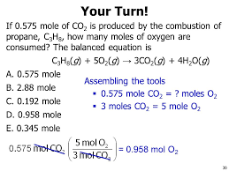 if 0 575 mole of co2 is produced by the combustion of propane 31 6 6 mass relationships and chemical equations