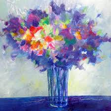 posy in lavender and blue painting of flowers painting by