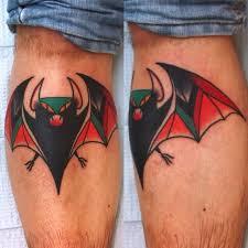 small open wings bat tattoo on leg tattooshunter com