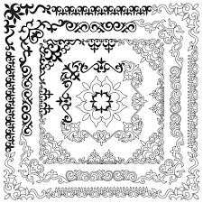 asian set of patterns and ornaments set of seamless borders be