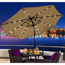 Patio Umbrella Led Lights by Outsunny 01 0185 9 U0027 Outdoor Patio Umbrella W Tilt U0026 Solar Powered