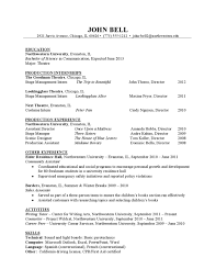 Hha Resume Samples Theater Resume Sample By Northwestern University Career Services