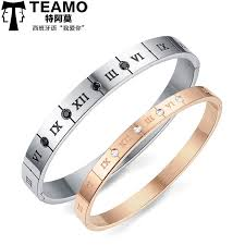 Gold Personalized Bracelets Teamo His And Hers Bracelets Personalized Bangles With Roman