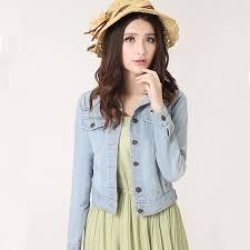 light blue cropped jean jacket new spring summer 2016 plus size vintage cropped denim jacket short