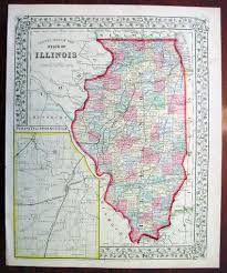 Map Of The State Of Illinois by 1869 Mitchell Antique Map Of The State Of Illinois U2013 Classical Images