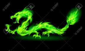 fire chinese dragon green black background royalty free