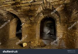 old abandoned tunnel underground wine cellar stock photo 681514306