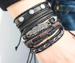 leather bracelet fashion images Vintage leaf feather multilayer leather bracelet men fashion jpeg