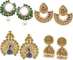 chandbali earrings online flipkart buy zaveri pearls combo of 4 pair of earrings zinc
