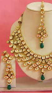 trendy necklace sets images N003696 trendy rama green kundan necklace set tika old jpg