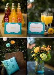 Drinks For Baby Shower - baby shower aqua mustard yellow white flowers drinks decor the