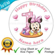 baby minnie mouse 1st birthday baby minnie mouse 1st birthday cake personalised edible cake
