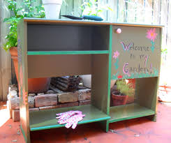 Inexpensive Potting Bench by Recycle A Furniture Castoff Into A Creative Potting Bench The