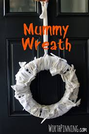 Make Halloween Wreath by Worth Pinning Mummy Wreath For Halloween