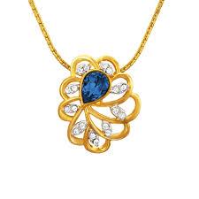 swarovski crystal flower necklace images Blue marigold flower pendant set with swarovski crystals jpg