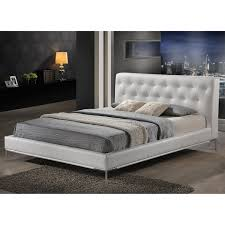 White King Platform Bed Black Leather Platform King Frame With Headboard Decofurnish