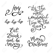 set of vector quotes merry eat drink