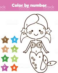 children educational game coloring page with mermaid color by