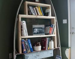 Canoe Shaped Bookshelf Boat Bookshelf Etsy