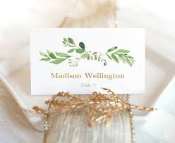 greenery wedding place card and escort card templates wedding