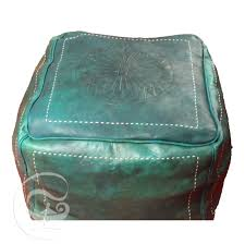 Leather Moroccan Ottoman by Square Leather Pouf Marrakech Market