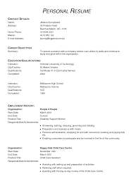 Simple Form Of Resume Internal Resume Format