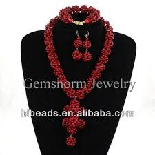 red crystal bead necklace images Wholesale fashion handmade nigerian african red coral crystal big jpg