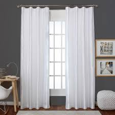 Winter Window Curtains Bolero Winter White Faux Silk Clip Ring Rod Pocket Top Window