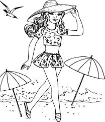 coloriage fille à la plage en vacances a imprimer
