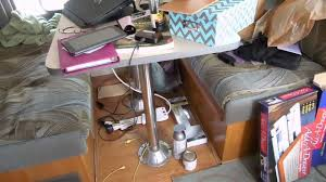 Rv Dinette Booth Bed Remodeling The Rv Dinette Table Into A Desk Fulltime Rv Youtube