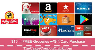 15 gift cards 15 in free groceries with gift card purchase at shoprite 2 4 10