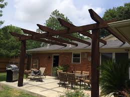 pergola design ideas pergola attached to roof stunning pergola attached to roof stunning construction design dark ebony stained finish wooden posts crossbeams rafters terrace patio decoration