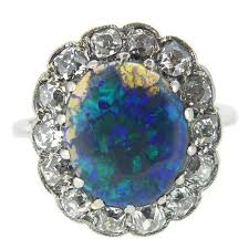 black opal engagement rings vintage black opal diamond cluster ring sted platinum circa
