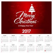 kalendarz na rok 2017 merry christmas tekst wektor darmowe
