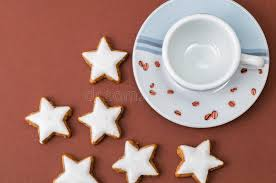 christmas cookies and a coffee cup royalty free stock images