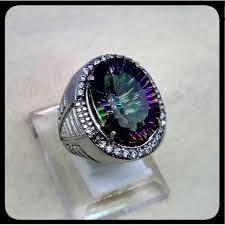 ring cincin alpaka cincin batu akik permata mystique quartz ring alpaka