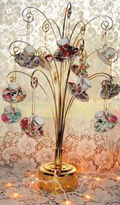 tea ornaments porcelain and glass tea cup roses and