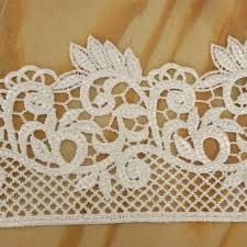 2 75 fanciful fiddlehead crocheted heavy lace ribbon trim white