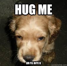 Give Me A Hug Meme - hug me or i ll bite u choco meme quickmeme
