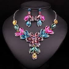 bridal jewelry necklace earrings images Fashion indian rhinestone bridal jewelry set wedding prom party jpg