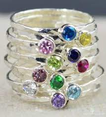 family birthstone rings dainty stacking mothers ring s ring silver
