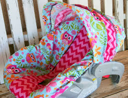 Pink Car Seat Canopy by Owls And Pink Chevron Infant Car Seat Cover And Hood Cover By