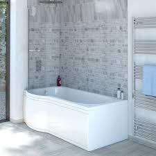 trojancast concert reinforced p shape shower bath 1600 x 850 concert reinforced p shape shower bath 1600 x 850 with panel screen left hand
