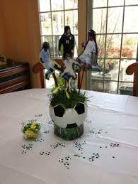 another view of center pieces another view of the soccer centerpieces i think they turned out