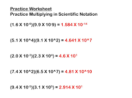 multiplying and dividing scientific notation worksheet multiplying and dividing in scientific notation ppt