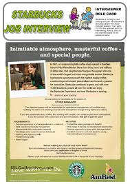 Starbucks Duties On Resume Starbucks Job Interview Role Play English Pinterest