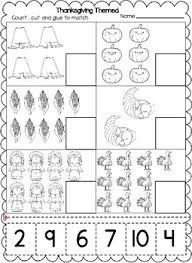 thanksgiving themed numbers cut and paste worksheets 1 20 tpt