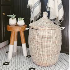 Bathroom Storage Box Seat African Basket Hamper White Medium Inside Bathroom
