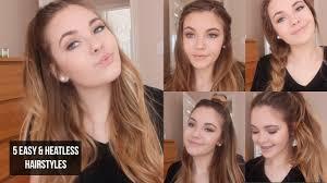 heatless hairstyles 5 quick easy heatless hairstyles youtube