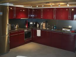 picturesque l shaped red kitchen cabinets with spotlight ceiling